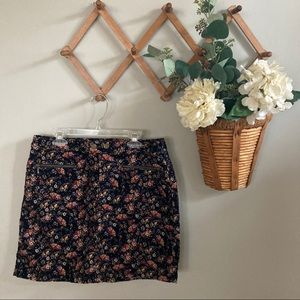 Mossimo Supply Co. Black Floral Corduroy Skirt
